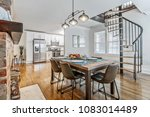 modern kitchen table with... | Shutterstock . vector #1083014489