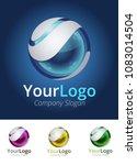 3d sphere logo. vector image.... | Shutterstock .eps vector #1083014504