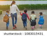 back to school parent and pupil ... | Shutterstock . vector #1083015431