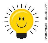 happy conceptual lightbulb icon | Shutterstock .eps vector #1083018644