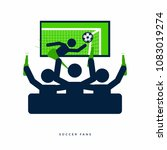 soccer or football fans with... | Shutterstock .eps vector #1083019274