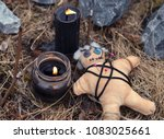 voodoo doll with burning black... | Shutterstock . vector #1083025661