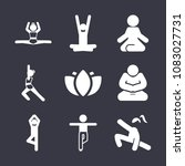 set of 9 yoga filled icons such ... | Shutterstock .eps vector #1083027731