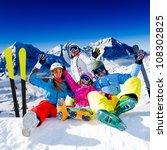 skiing  winter fun   happy... | Shutterstock . vector #108302825