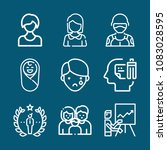 set of 9 people outline icons... | Shutterstock .eps vector #1083028595
