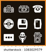 set of 9 retro filled icons... | Shutterstock .eps vector #1083029579