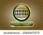 golden badge with globe ...   Shutterstock .eps vector #1083047075