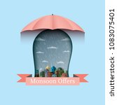 monsoon offers banner backgroud ... | Shutterstock .eps vector #1083075401