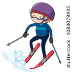 a boy skiing on white... | Shutterstock .eps vector #1083078935
