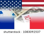 us and france flags with euro...
