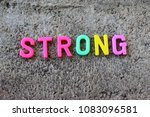 a strong word of a toy with a... | Shutterstock . vector #1083096581