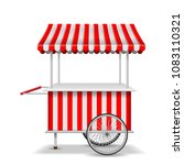 realistic street food cart with ... | Shutterstock .eps vector #1083110321