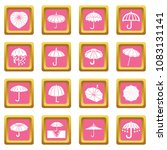 umbrella icons set vector pink... | Shutterstock .eps vector #1083131141