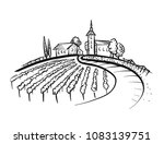 vineyard drawing with grapes ... | Shutterstock .eps vector #1083139751