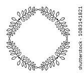hand drawn thin line wreath... | Shutterstock .eps vector #1083141821