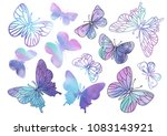 Stock vector clipart purple butterfly color vector illustration set about magic cartoon picture for scrapbooking 1083143921