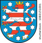 Coat of arms of Free State of Thuringia is a federal state in central Germany. Vector illustration