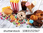 unhealthy products. food bad... | Shutterstock . vector #1083152567