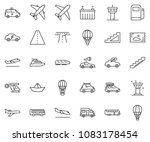 thin line icon set   paper ship ... | Shutterstock .eps vector #1083178454