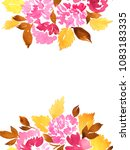 hand painted watercolor pink... | Shutterstock . vector #1083183335