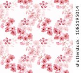 seamless watercolor floral... | Shutterstock . vector #1083195014