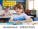 portrait of happy child with... | Shutterstock . vector #1083219101