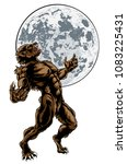 scary werewolf wolf man horror...   Shutterstock .eps vector #1083225431
