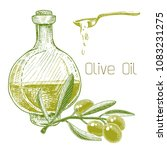 olive oil in a bottle and an... | Shutterstock .eps vector #1083231275