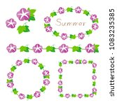 morning glory border frame set | Shutterstock .eps vector #1083235385