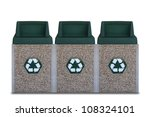 Recycle Bins isolated on white - stock photo