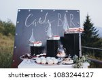 cakes  sweets and drinks stand... | Shutterstock . vector #1083244127
