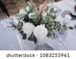 on a festive table with a white ... | Shutterstock . vector #1083253961
