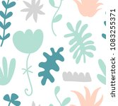 hand drawn floral seamless... | Shutterstock .eps vector #1083255371
