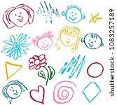 children's drawings. elements... | Shutterstock .eps vector #1083257189
