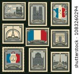 vector set of postage stamps on ... | Shutterstock .eps vector #1083260294