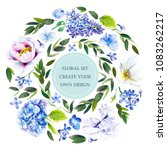 floral set with flowers ... | Shutterstock . vector #1083262217