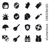 Small photo of Set of simple vector isolated icons rubber glove vector, protect, protected payment, dollar shield, key, siren, Lifebuoy, life vest, dynamit, toxic weapon, army helmet, armor