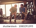 personal trainer giving support ... | Shutterstock . vector #1083291395