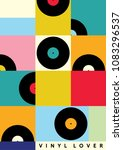 vinyl lover interior poster | Shutterstock .eps vector #1083296537