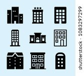 set of 9 apartment filled icons ... | Shutterstock .eps vector #1083297299