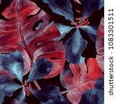 summer pattern. watercolor... | Shutterstock . vector #1083301511