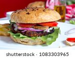 fresh vegetarian burger  | Shutterstock . vector #1083303965