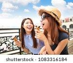 happy girls enjoy ice cream and ... | Shutterstock . vector #1083316184