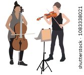young girs violinist and... | Shutterstock .eps vector #1083338021
