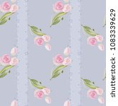spring pattern with rose and... | Shutterstock .eps vector #1083339629