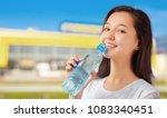 beautiful smiling young woman... | Shutterstock . vector #1083340451