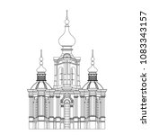 monochrome drawing  architectur ... | Shutterstock .eps vector #1083343157