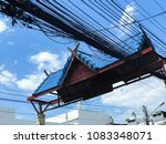 electricity post on blue sky... | Shutterstock . vector #1083348071