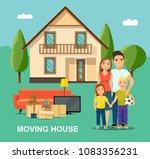 new house for family. mother... | Shutterstock .eps vector #1083356231