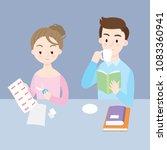 cartoon flat cute husband and... | Shutterstock .eps vector #1083360941